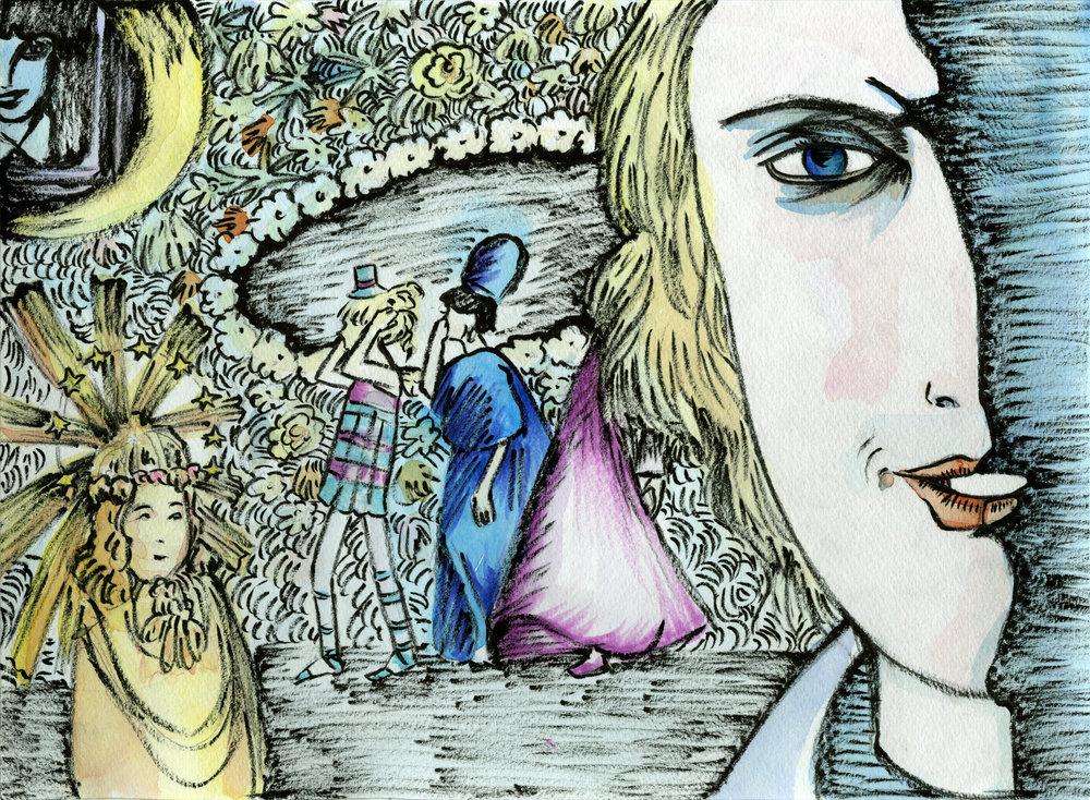 Spirits of the Dead segment 3, Toby Dammit dir. Federico Fellini, 1968  4/13/18 #117  ホラースクリーンズ~ホラー映画オマージュアート展に採用 (2018年)  featured in Kyoto Gallery Sorath's Horror Film Homage Art Exhibition, 2018