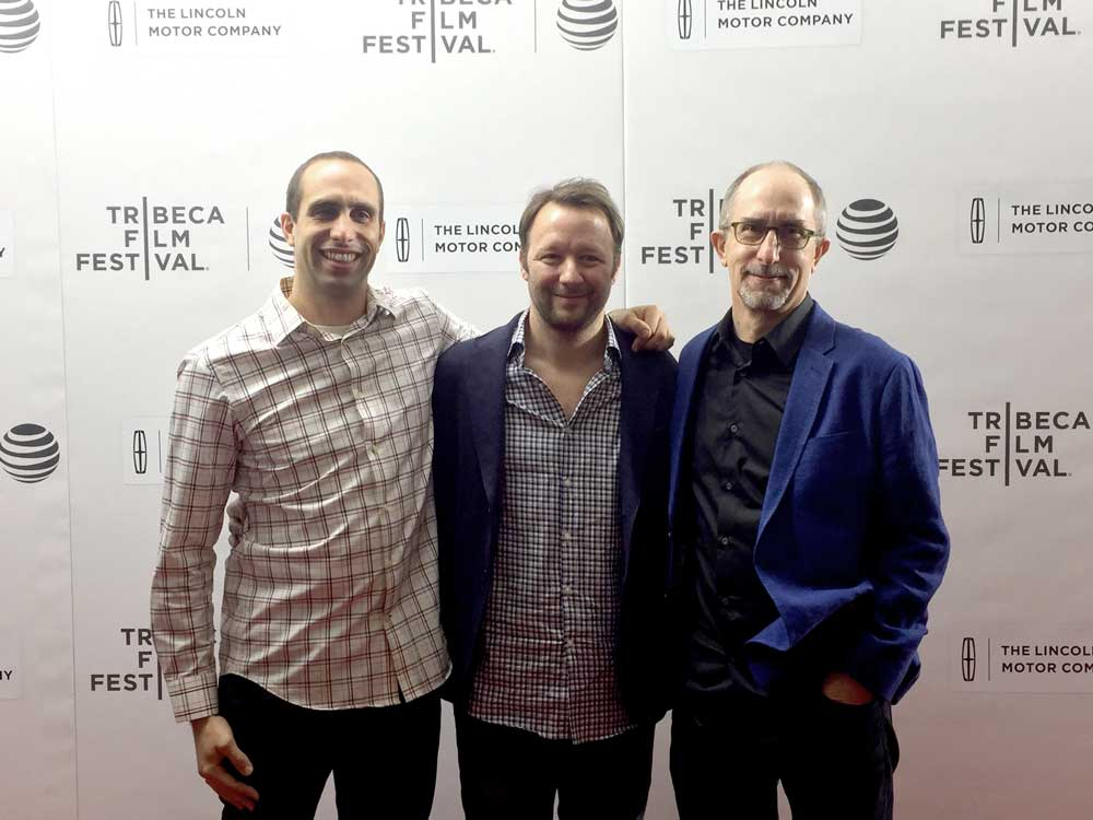 (L-R) Additional Music Composer Kenny Kusiak, Director Jon Greenhalgh, Composer John Kusiak at Team Foxcatcher Tribeca Film Festival Premiere