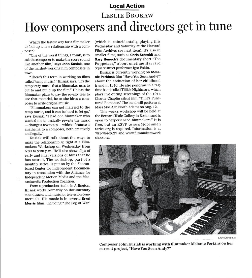Boston Globe article from 2006 about the Kusiak Music composing process.