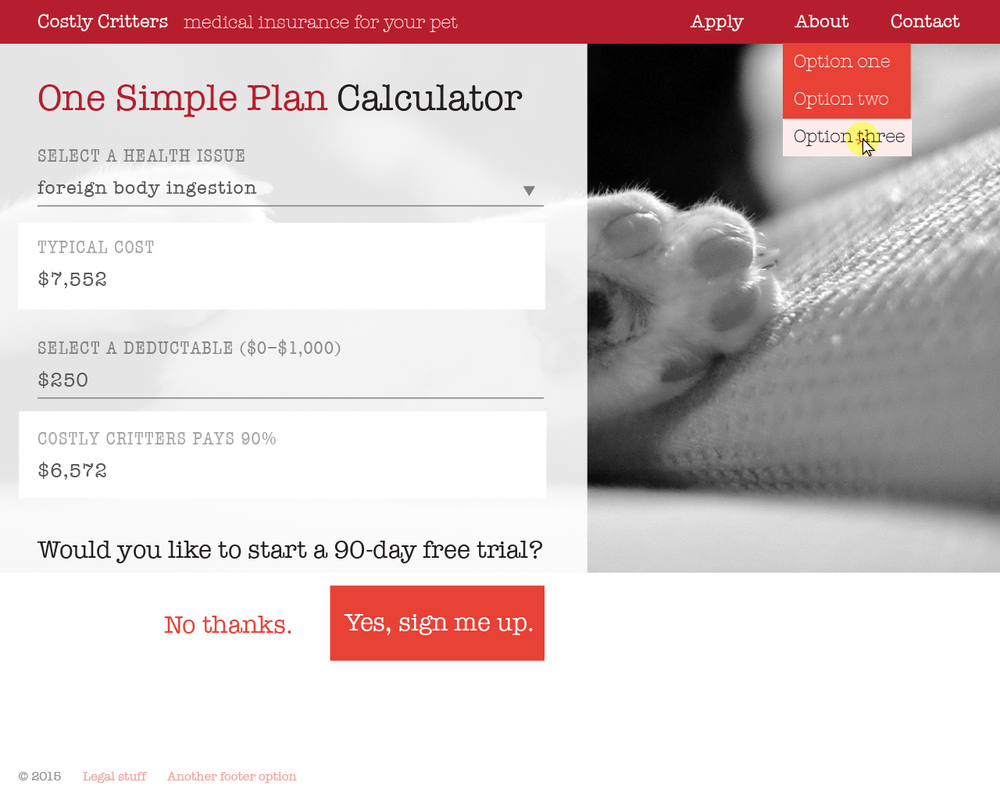 "The plan ""calculator"" is a way for potential customers to see their costs before committing to signing-up."