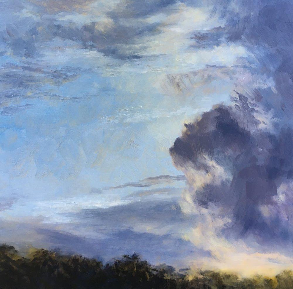Summer Storm, Oil on board, 30 x 30cm, $880