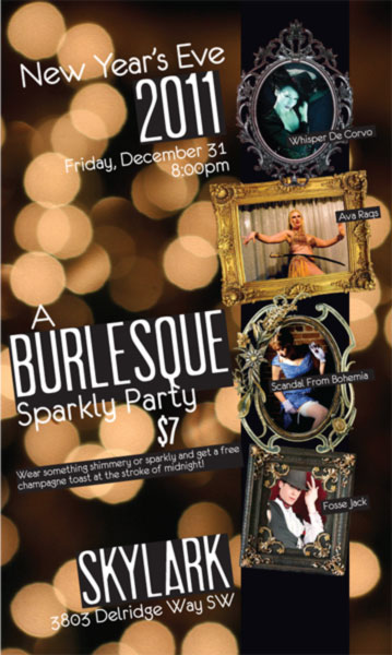 Burlesque New Year's Eve parties were popular and became a tradition.