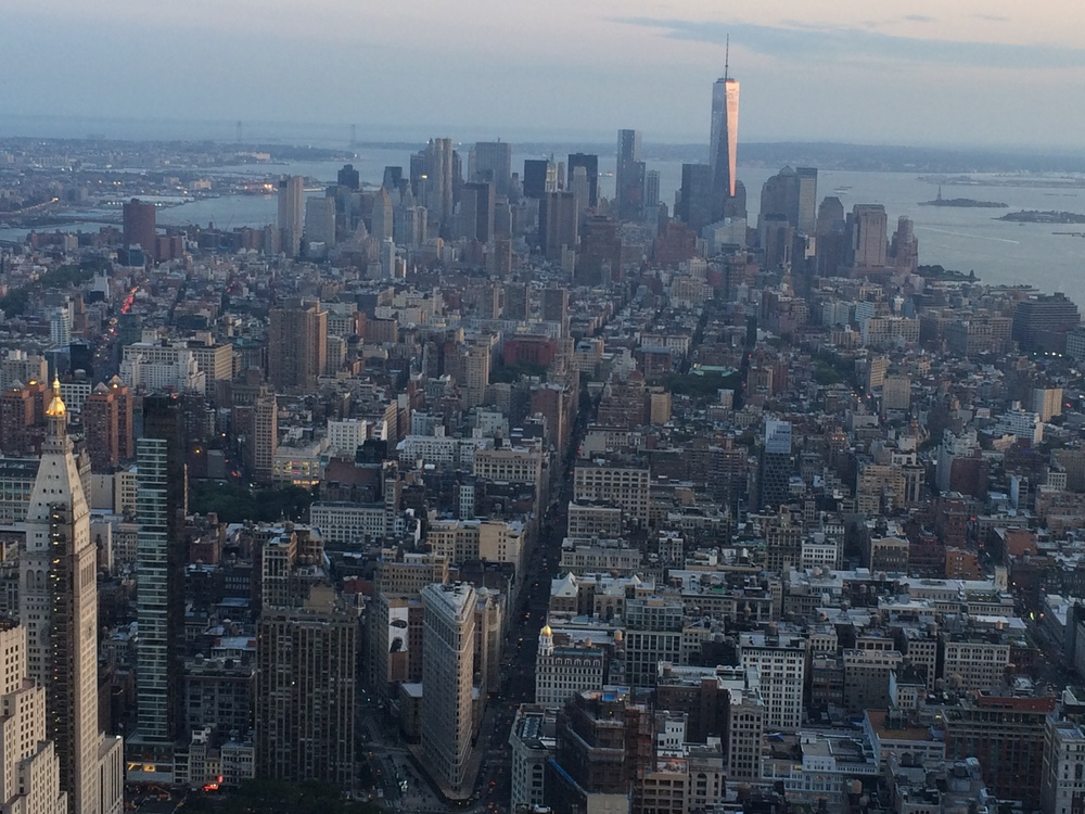 New York City view from Empire State Building at Sunset