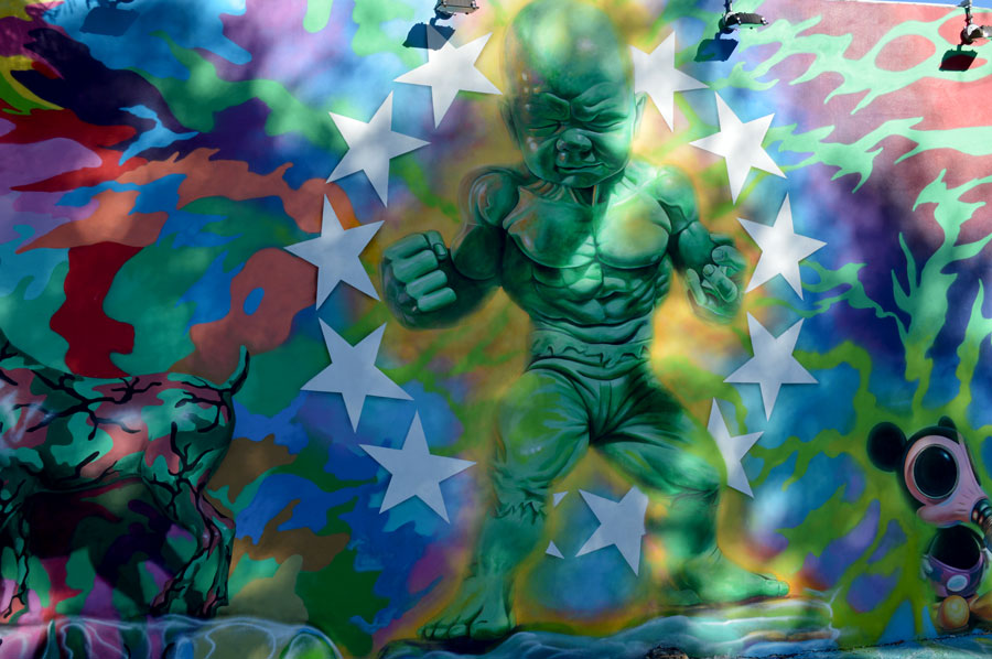 Hulk Baby Monster street art at Wynwood Walls in Miami Florida
