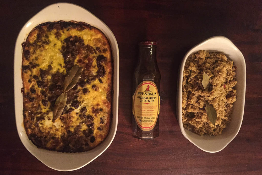 South African Bobotie with yellow rice and Mrs Balls Chutney