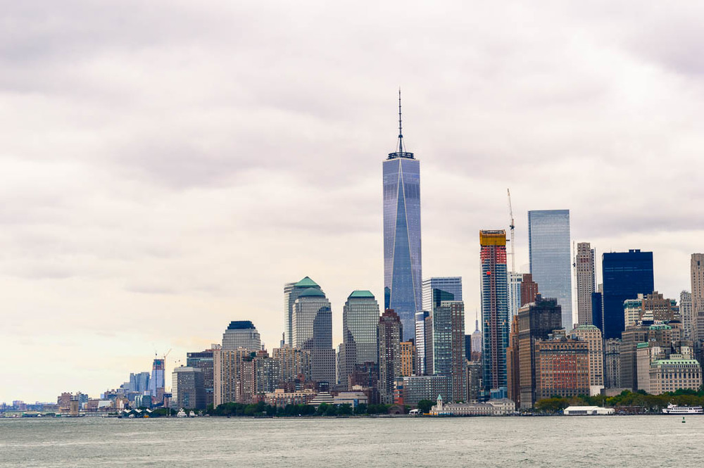 Skyline of New York's Financial District with the Freedom Tower, from the Ferry Docks