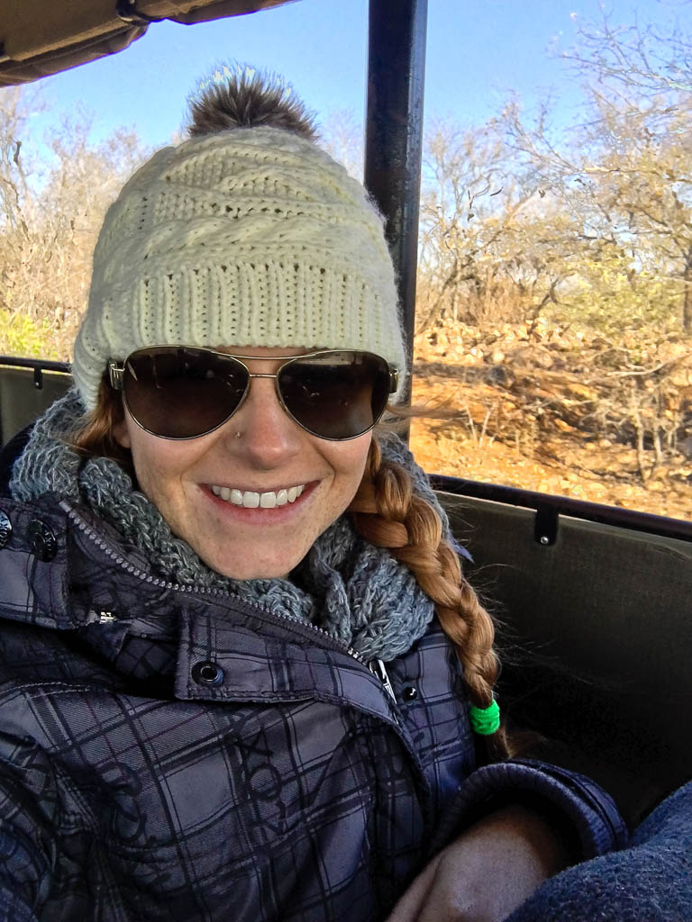 Dressed Warmly for safari in the Kruger National Park