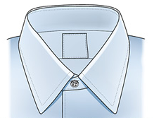 NARROW-POINT This collar lends itself to being worn with a necktie as a rule of thumb. It tends to flatter rounder or wider faces.