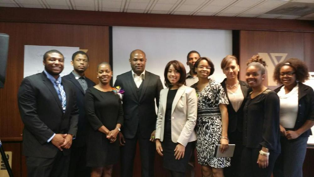 Attendees of the Bridging the Gap Mentor Program joined by the Devlon Paris #WellSuited workshop presenters,  Mrs. Stacey Calhoun and Mr. Tim O.