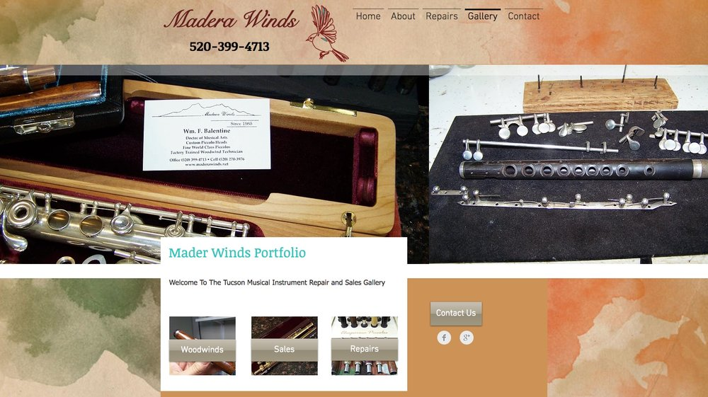 Madera Winds - Dr. Balentine was looking for an artistic design to compliment his niche in the musical instrument repair business in Sahuarita Arizona.