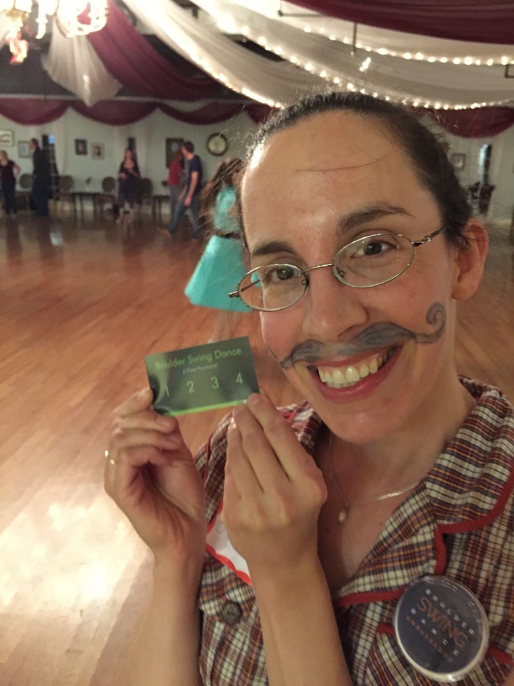 "Winner of our ""You mustache me to dance"" contest"