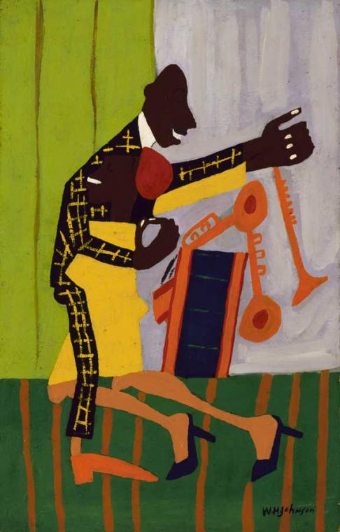 William H. Johnson (American, 1901-1970), Jitterbugs (II), about 1941. Oil on paperboard; 24 x 15 3/8 in. (61 x 39.1 cm.) Smithsonian American Art Museum, Gift of the Harmon Foundation, 1967.59.611