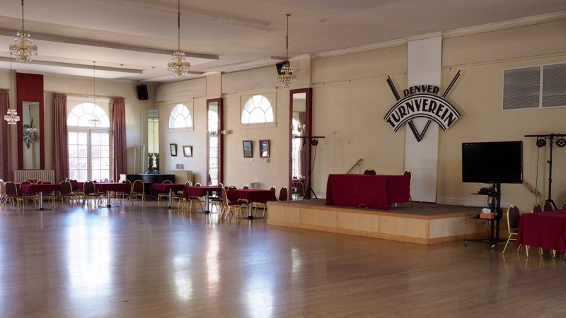 The ballroom inside the Denver Turnverein is still used for swing dancing.
