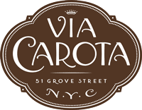 The logo of Via Carota, the West Village gastroteca of cherished downtown chefs Jody Williams and Rita Sodi.