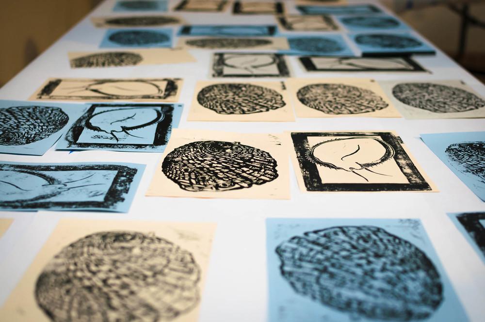 Abalone woodblock prints