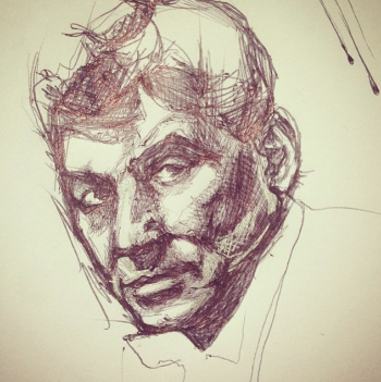 My friend doesn't always draw composers, but when she does... Here's Andi Bozym's Bernstein, from a few days ago.