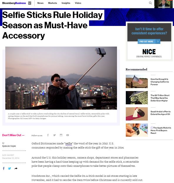 Selfie On A Stick mentioned in Bloomberg Business