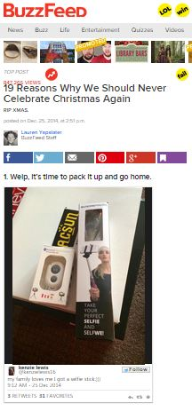 Selfie On A Stick featured on Buzzfeed