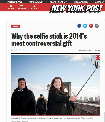 Selfie On A Stick CEO appears in New York Post
