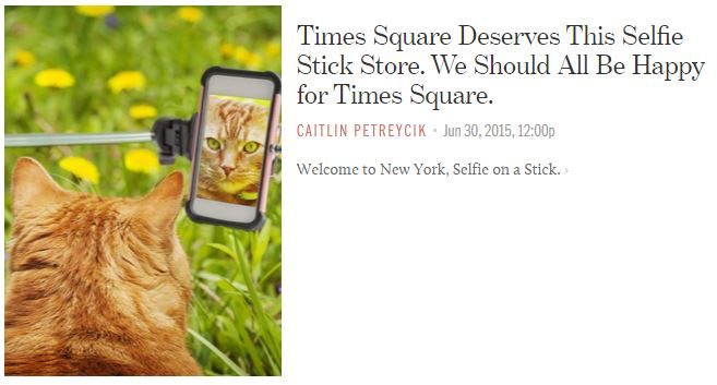 Selfie On A Stick Times Square Store and Photo Booth featured by Racked