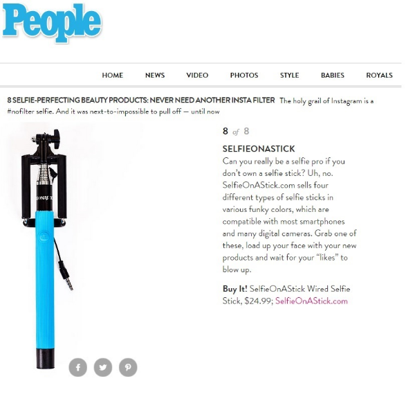 People Magazine names Selfie On A Stick Wired best Selfie perfecting Beauty Product