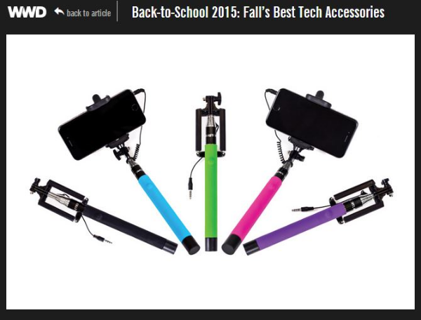 SelfieOnAStick.com Wired selfie stick featured by WWD's Back to School 2015 Tech Guide