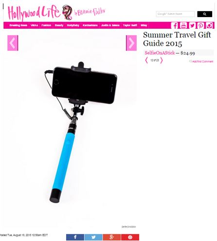Hollywoodlife selfie stick travel accessory