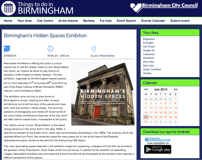 http://events.birmingham.gov.uk/events/birminghams-hidden-spaces-exhibition-2014-06-21/