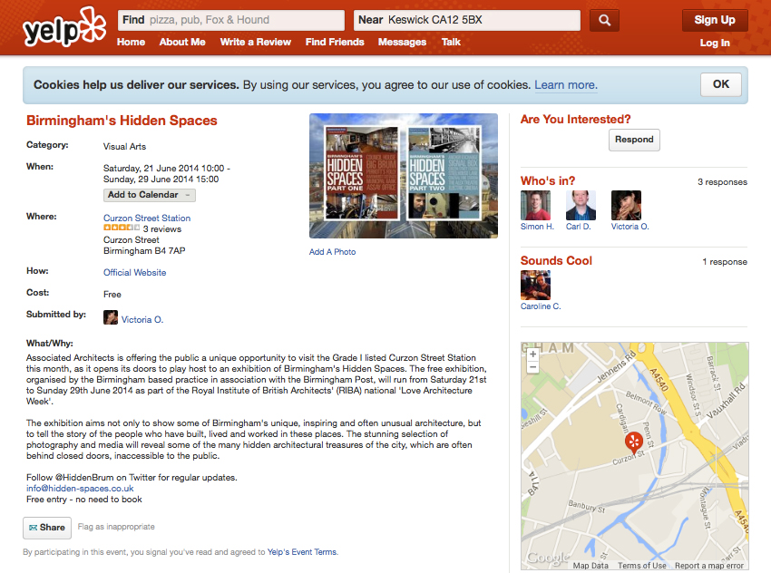 http://www.yelp.co.uk/events/birmingham-birminghams-hidden-spaces