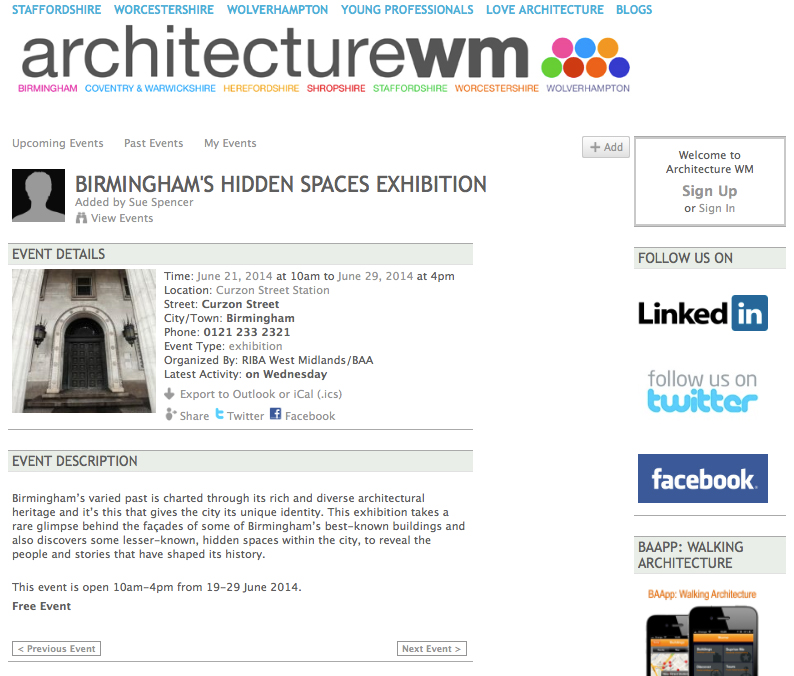 http://birminghamarchitecture.ning.com/events/birmingham-s-hidden-spaces-exhibition