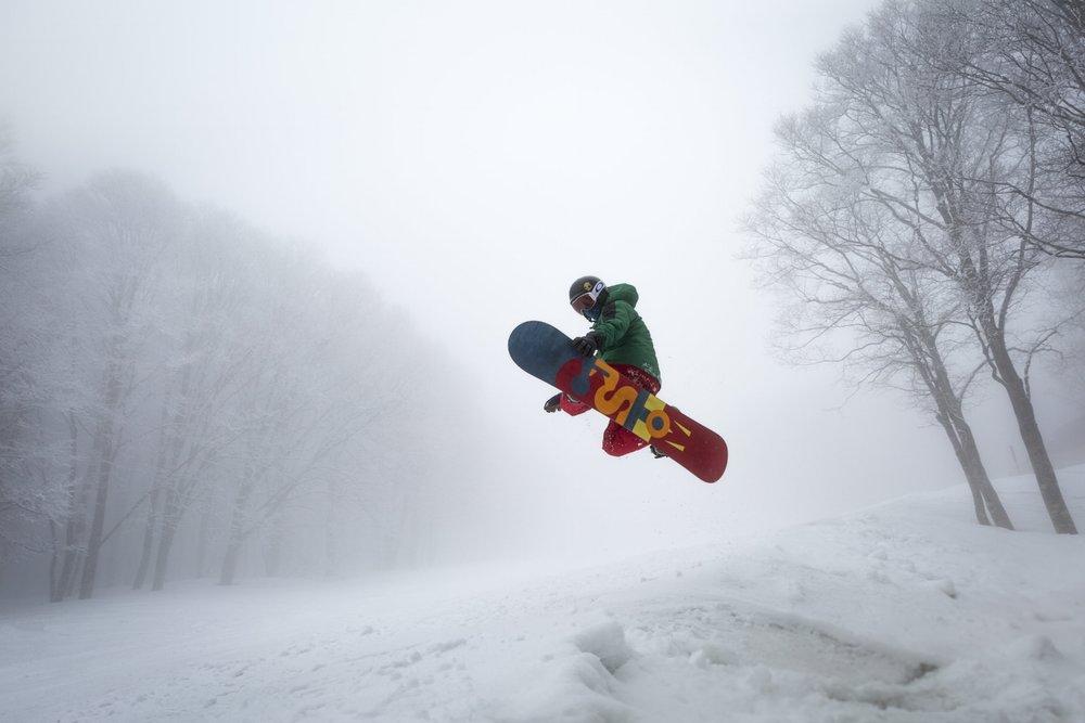 Landon Goerzen popping a side hit at Ikenotaira Resort in Myoko-kogen, Nagano, Japan.