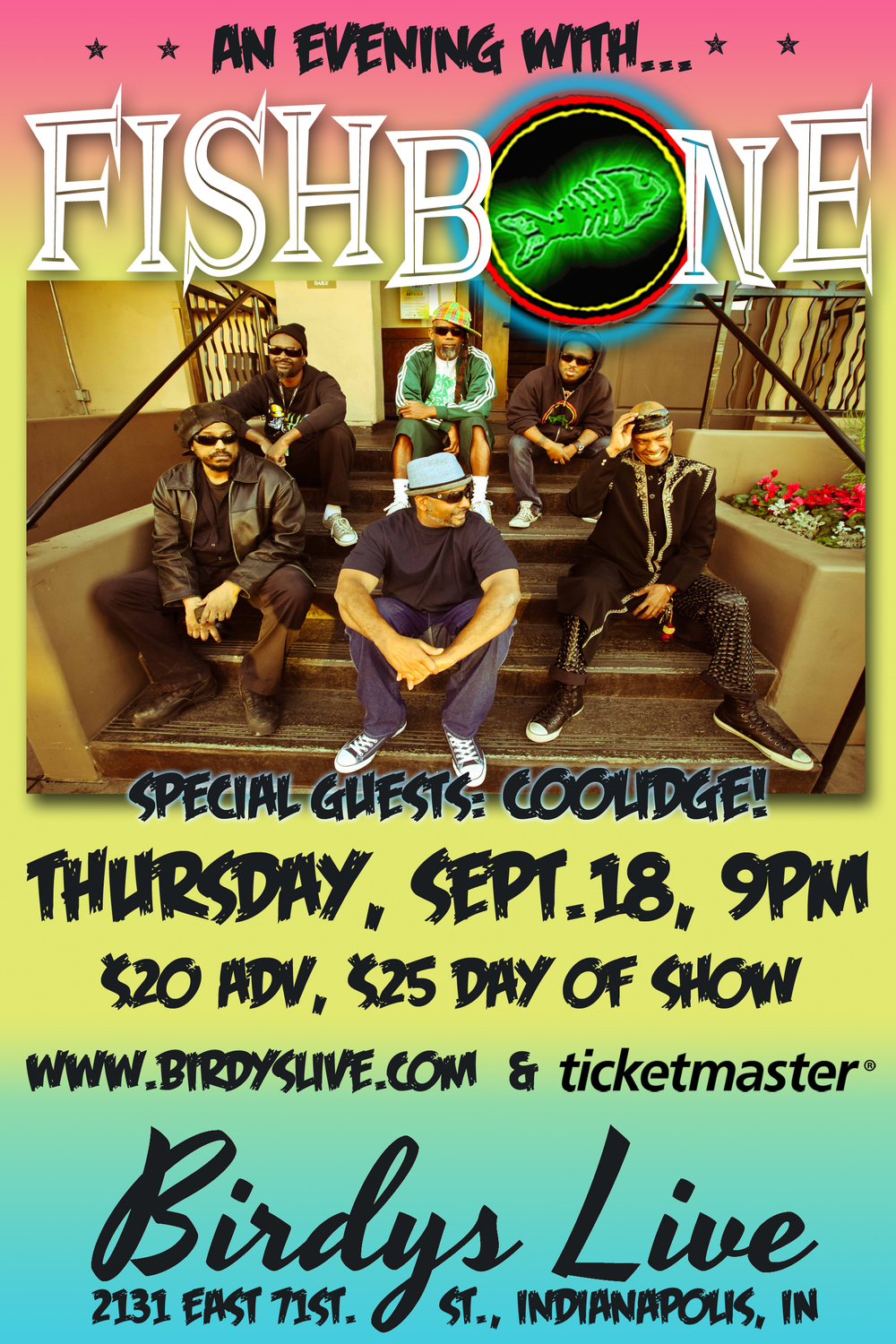 Celebrating 25+ groundbreaking years, FISHBONE has been trailblazing their way through the history of American Ska, Funk, Punk, Rock Fusion and (so-called) Black Rock since starting their professional career in Los Angeles' burgeoning, Alternative Rock music scene of the mid-1980s. Their sound has often been imitated, but never duplicated. They have toured worldwide with such bands as the Beastie Boys, Red Hot Chili Peppers, The Roots, Les Claypool/Primus, Fela Kuti, George Clinton, The Dead Kennedys and many more. Angelo Moore's ability to combine thought-provoking, humorous social commentary with FISHBONE's frenzied, up-tempo music and frantic, euphorically entertaining stage show has cultivated their undisputed reputation as one of the best live acts in music history.