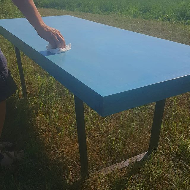 We are full-time artists, but not always in clay. Joe is finishing a custom table today for our friends Keith and  @decibelleslie .  They are amazing supporters of our Mineral Point art community. We are excited to dine at Buttonhill sometime and see our pots on Joe's table.  #woodworking #selfemployed #table #blue #dovetail