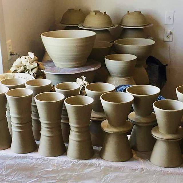 Joe took off for a weekend with friends from @cornellcollege leaving a pile of pots to finish next week.  #bix7 #wip #pottery #handmade #mineralpointwisconsin #artsonpoint