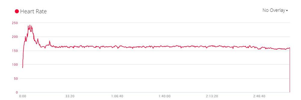 Author's heart rate during the Long Island Marathon, averaging 165 BPM with a big spike in the first couple miles.