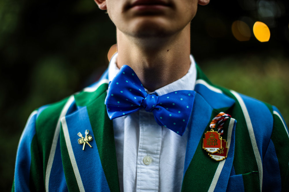 A bow tie is worn by a member of the Seattle-based Green Lake crew at the Henley Regatta on June 29, 2017 in Henley-on-Thames.