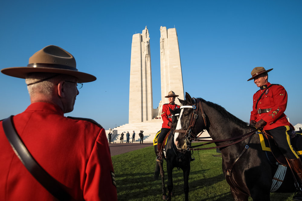 VIMY, FRANCE : Royal Canadian Mounted Police are pictured in front of the Canadian National Vimy Memorial.