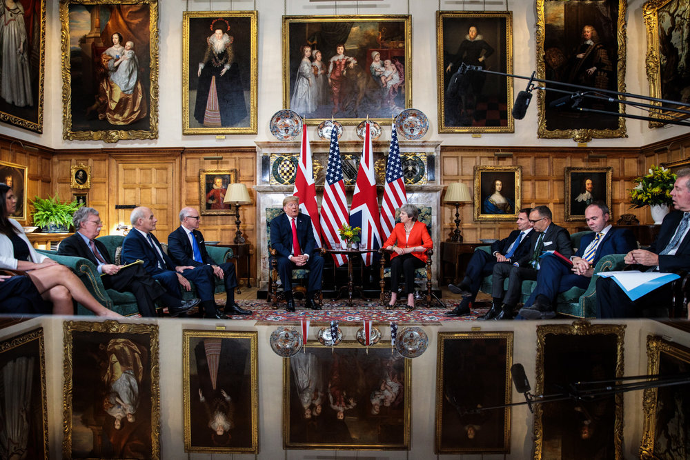 U.K. Aylesbury -  US President Donald Trump and British Prime Minister Theresa May hold talks at Chequers, 2018.