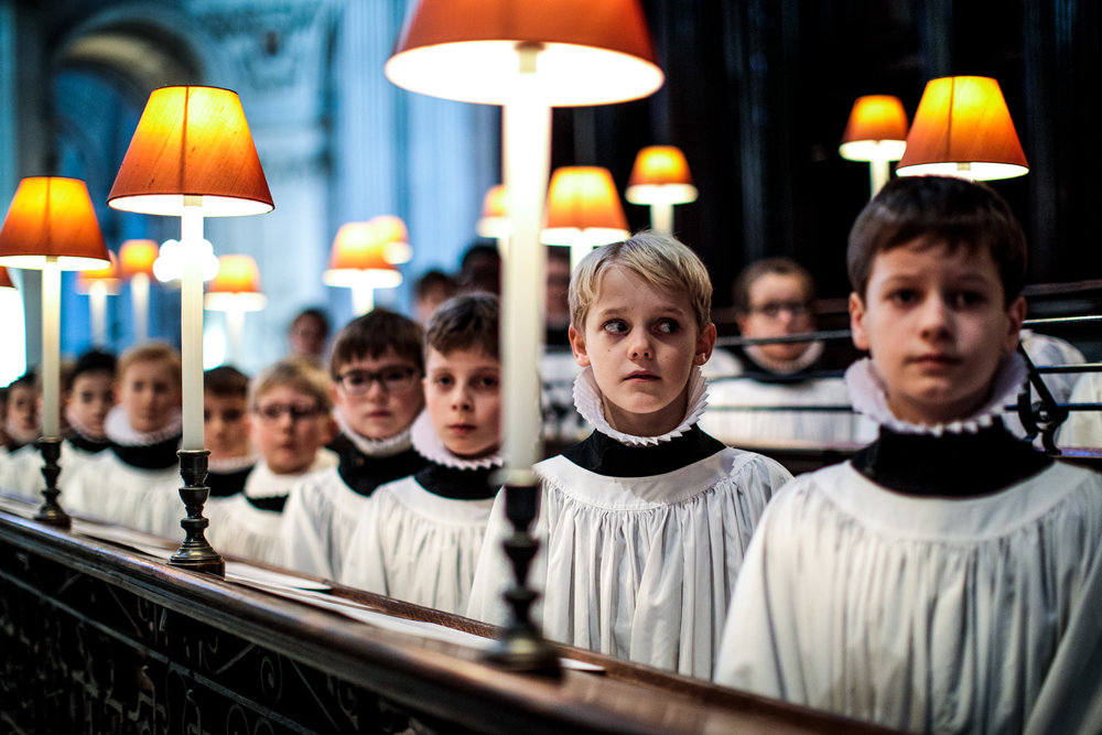 London, U.K. - St Paul's Choristers rehearse at the Cathedral.