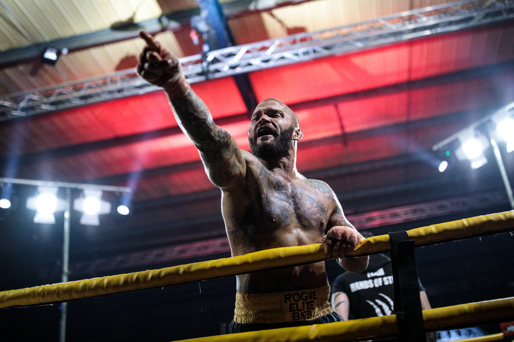MANCHESTER, ENGLAND: Dom Clark, 35 from Bournemouth celebrates his win against two-time World Bare-Knuckle Boxing Champion Luke Atkin during the Rogue Elite world title fight during an Ultimate Bare Knuckle Boxing (UBKB) event at Bowlers Exhibition Centre on August 4, 2018.