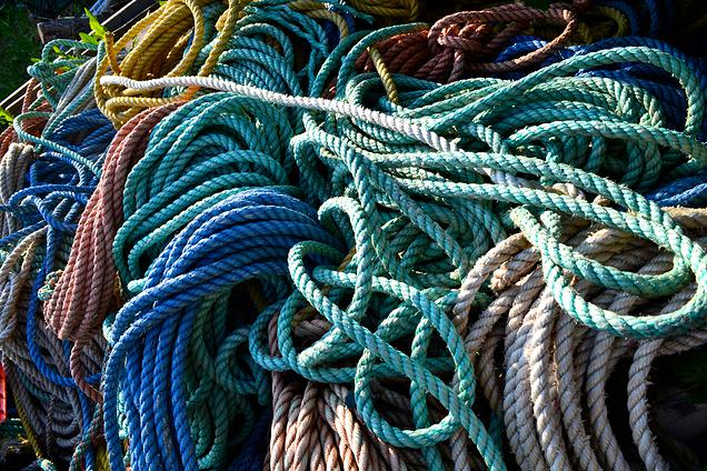 {A pile of lobstermen's ropes.  Check out those colors}