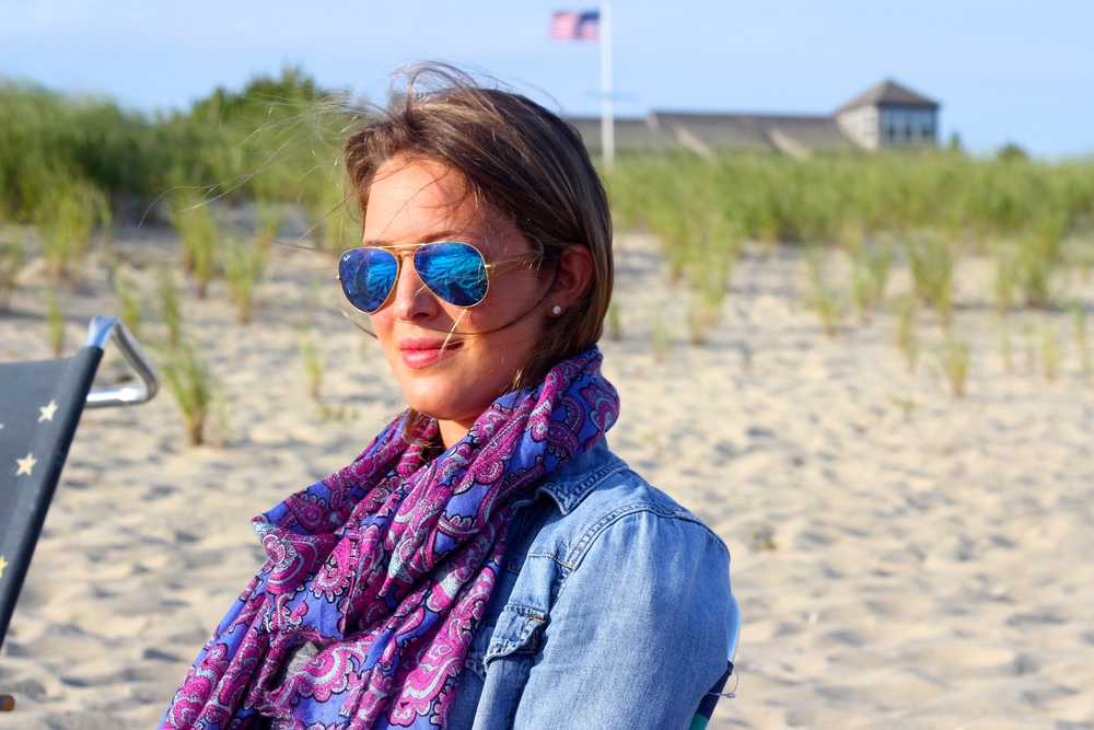 {Madewell Chambray ( similar here ), J.Crew scarf (previous season),  Ray Ban sunnies }