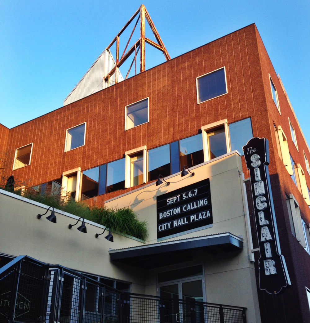 {Pretty evening light and graphic signs at The Sinclair}