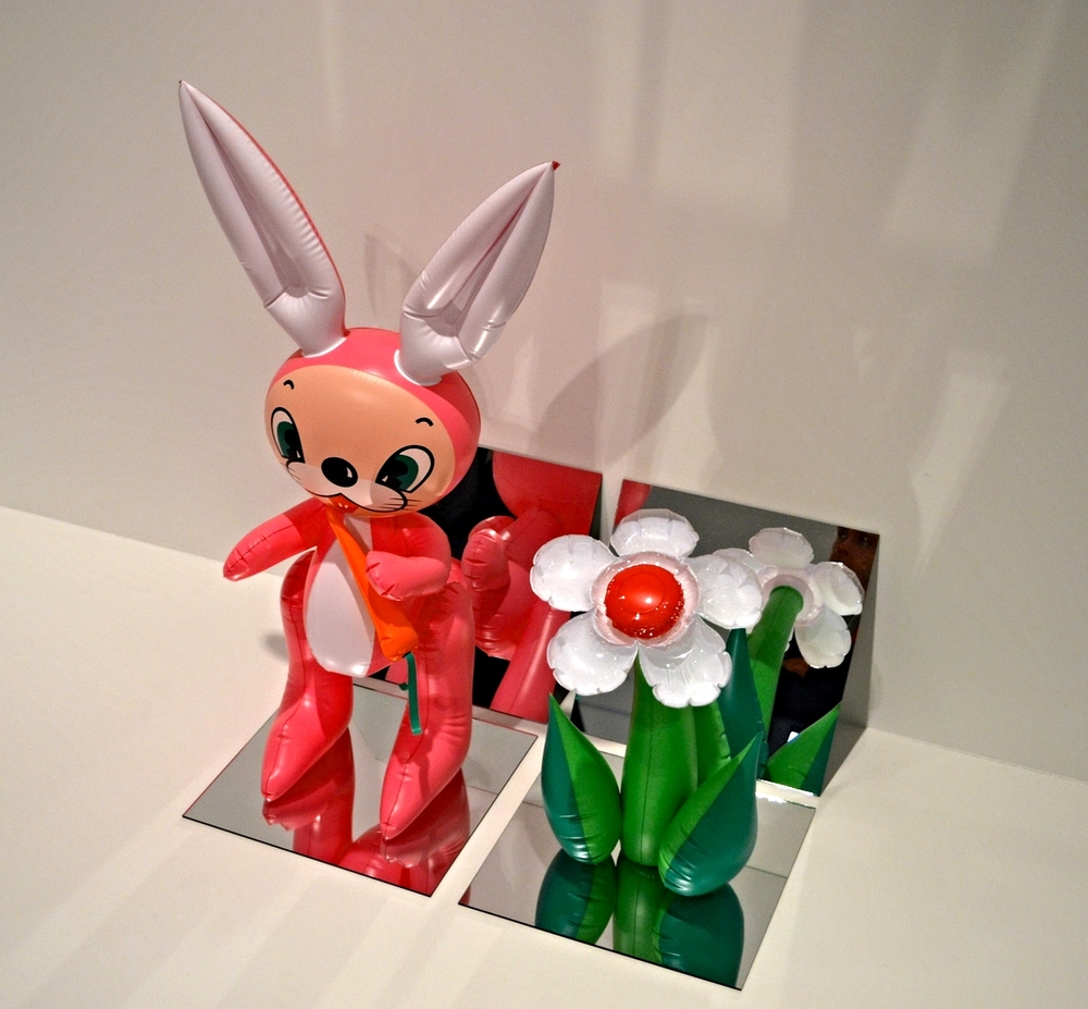Inflatable Flower and Bunny (Tall White, Pink Bunny),  1979.