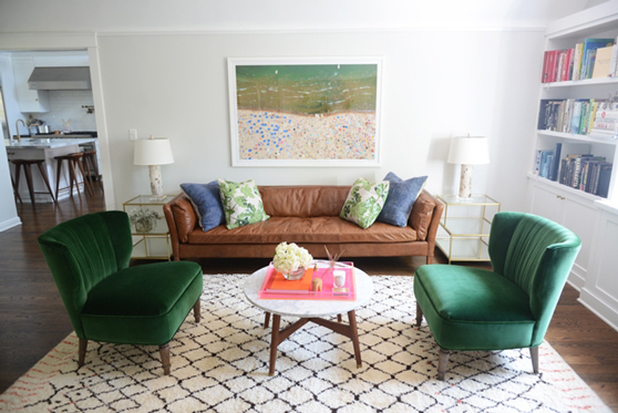 One of my favorite bloggers,  Cupcake and Cashmere 's, living room