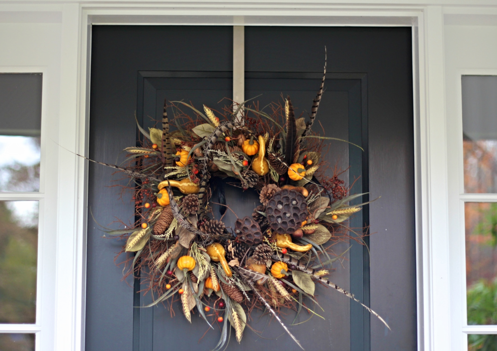 {Fall themed wreath on our front door}