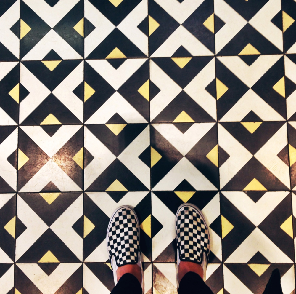 {Shoe pattern meets floor pattern at South End Buttery}