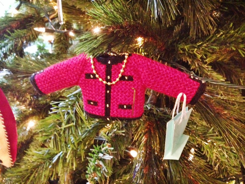 {The most adorable needlepoint Chanel sweater ornament, complete with Tiffany and Co. bag}