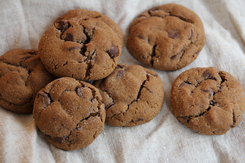 {Some chewy gingerbread chocolate chip cookies I whipped up last week.}