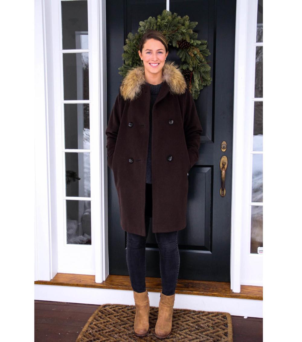 {Bogner coat, Madewell jeans, Sam Edelman booties}